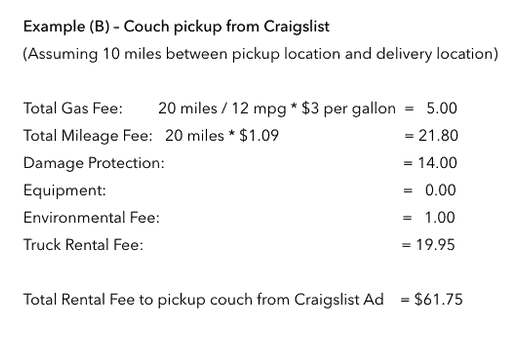 Uhaul Pricing for couch delivery