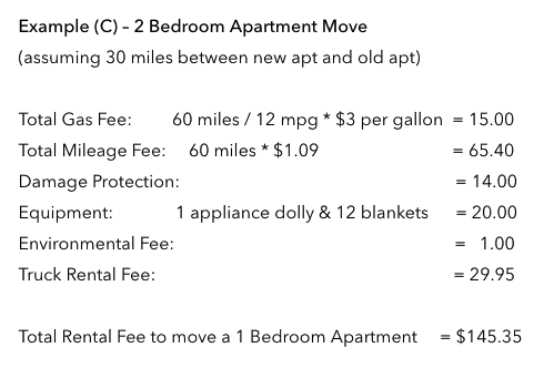 Uhaul Pricing for 2 bedroom Apartment